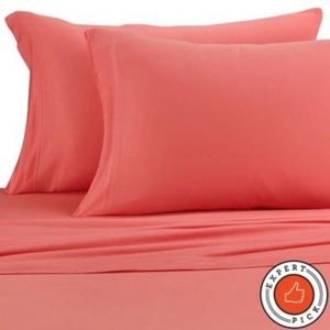 NEW Pure Beech Jersey Knit Full Sheet Set in Coral